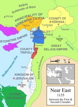 Kerajaan di sekitar Yerusalem th 1135 M setelah Perang Salib 1 dan terlibat pada Perang Salib 2