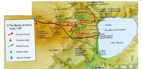 Pasukan Salib yang diserang & dikepung di Puncak Hattin oleh Sultan Shalahuddin(tengah hijau), Panglimanya Taqiyuddin(kanan hijau), dan Panglimanya Muzafaruddin Gokbori (Kiri Hijau)